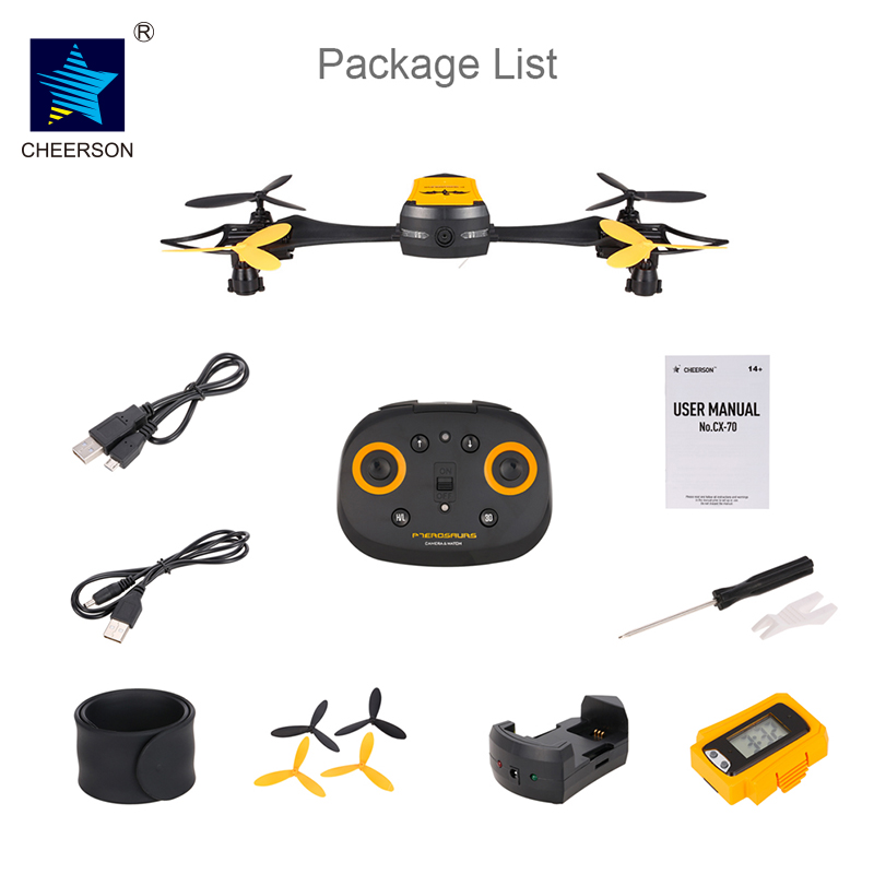CHEERSON CX-70 WiFi FPV 0.3MP Camera HD Wireless Remote Control RC Quadcopter RTF Wearable Wrist Watch Design Air Altitude Hold cheerson cricket cx 17 mini wifi fpv rc quadcopter rtf black