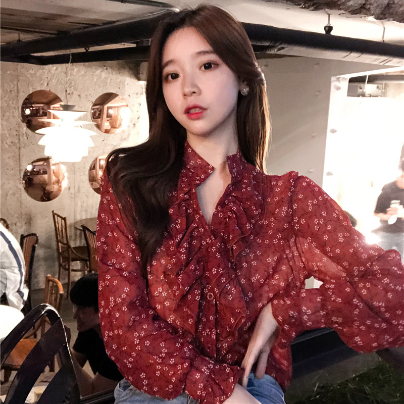 BGTEEVER Floral Print Ruffles Tops Tees V neck Full Sleeve Chiffon Women   Blouse     Shirt   Warp Elegant Crop Top 2018 Autumn