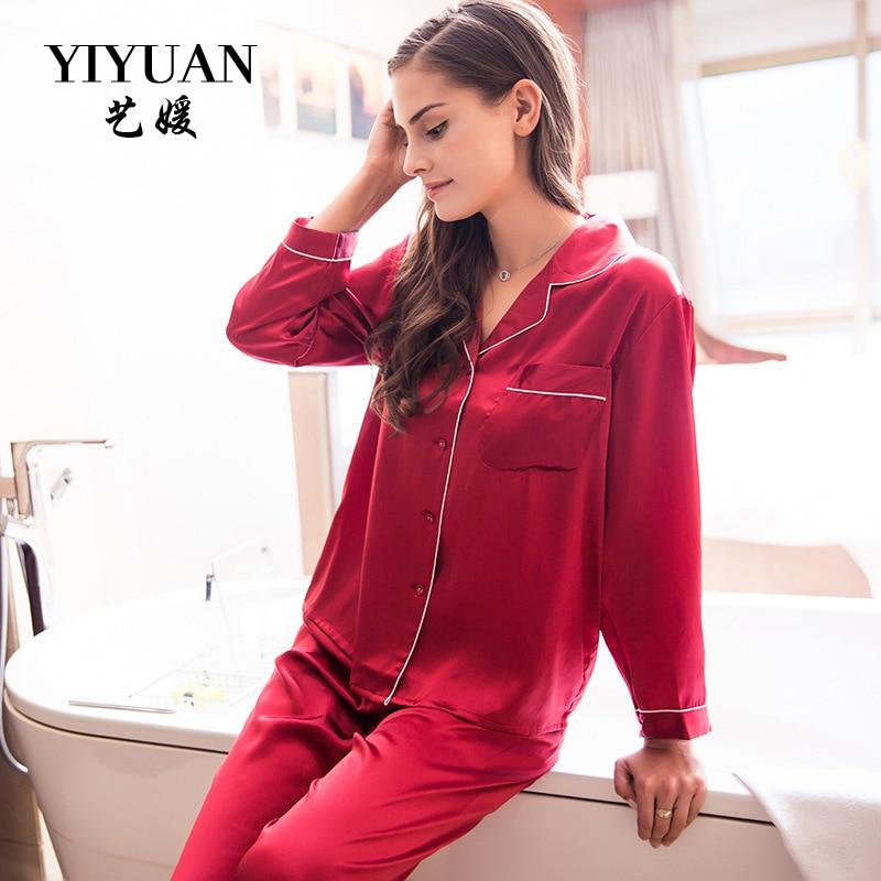 YIYUAN Pyjamas Pour Femmes Sexy Réel Soie De Nuit Deux-Piece Pyjama Ensembles 100% Soie Naturelle Pijamas Femelle Salon Ensemble T77166