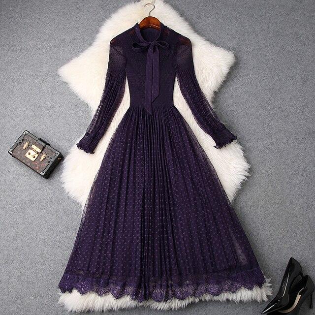 Longue robe de bureau à dentelle, qualité supérieure, douce, tenue pour femme, été 2020, avec nœud, collection printemps décontracté