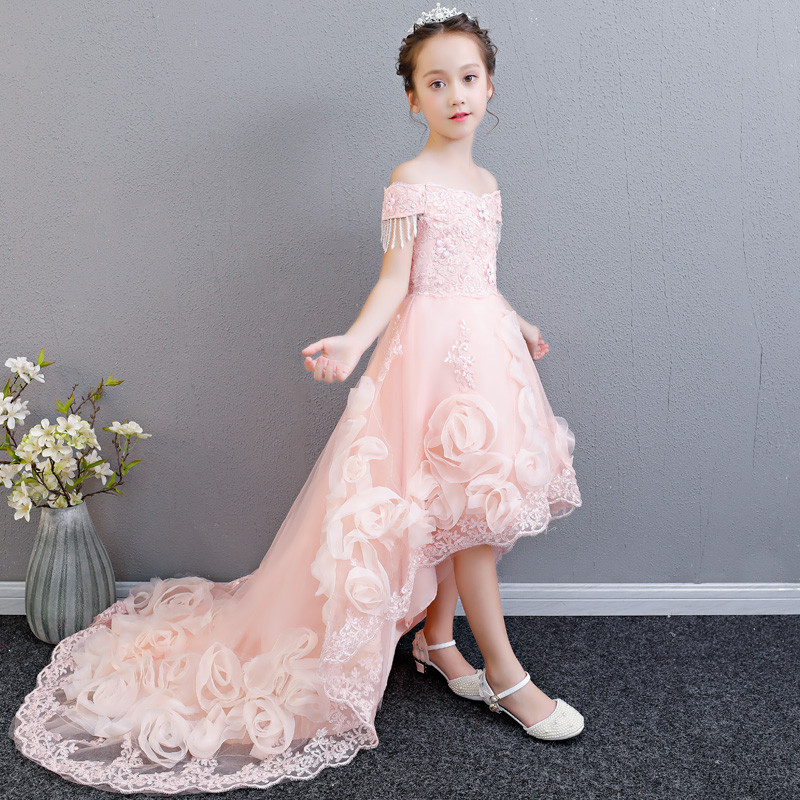 New Girls Princess Party Dresses for Wedding Kids Long Tailing Birthday Wedding Evening Party Ceremony Brand Quality Long Dress