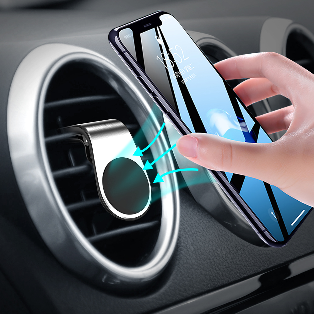 Portable Magnetic Car Phone Holder Air Vent Mount Stand L Shape Universal Magnet Mobile Phone Holder For Samsung S10 Xiaomi