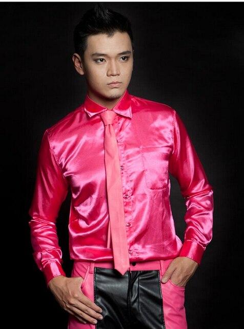 Ночной клуб певица ло концерт в сочетании с раздела штук красный шелк ткань приталенный рубашка