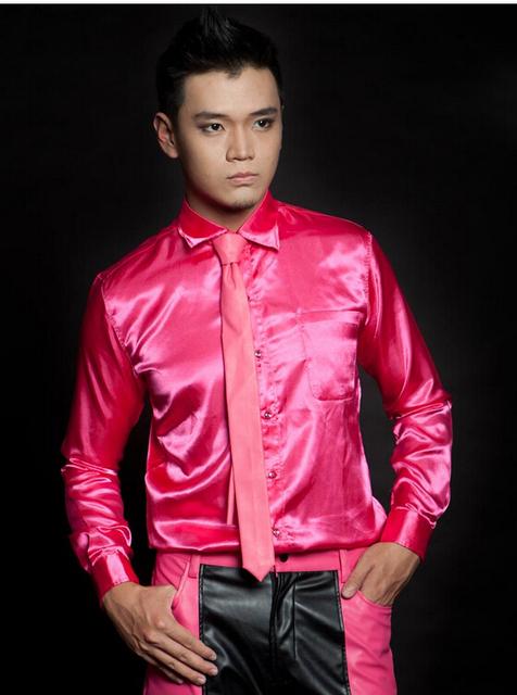 Envío gratis Nightclub cantante Luo concierto en conjunción con la sección piezas de tela de seda roja camisa delgada