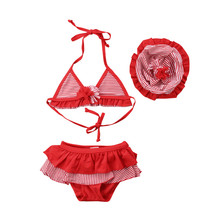 Toddler Kids Baby Girls Red Striped Tankini Bikini Set Swimwear Swimsuit Bathing Suit Summer Beachwear