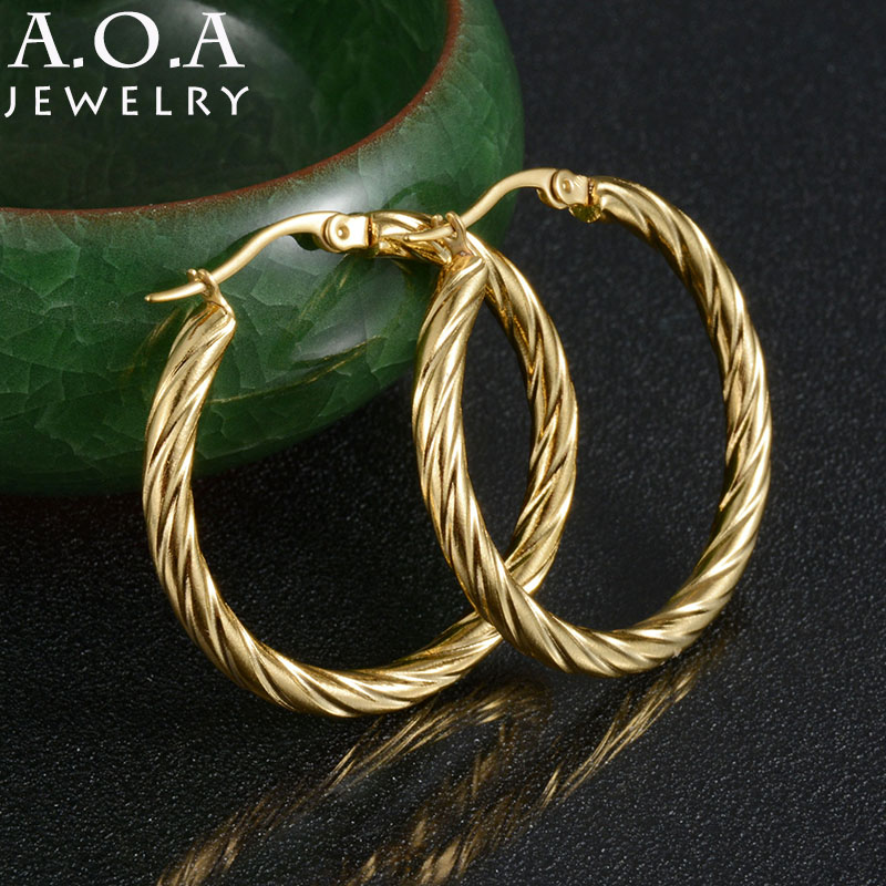 Hot Sale Stainless Steel Circle Creole Hoop Earrings Gold-color Bamboo Basketball Wives Hoop Earrings For Famale Gift