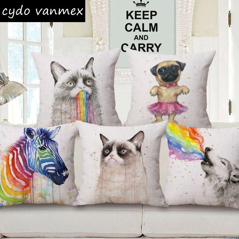 watercolor pug cushion cover creative animal cojines