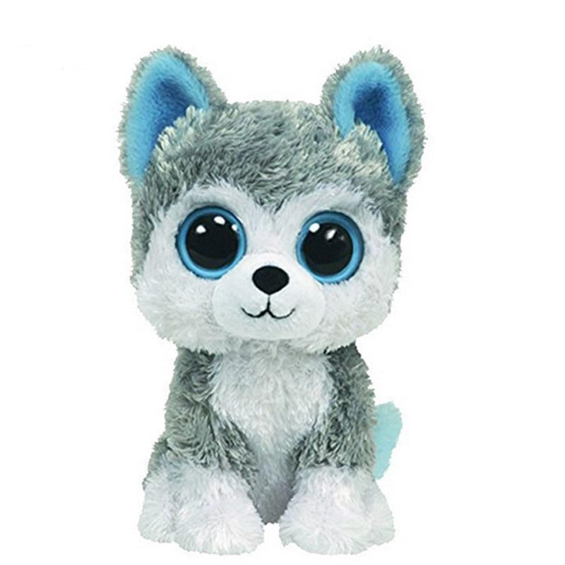 1pc18cm Hot Sale Ty Beanie Boos Big Eyes Husky Dog Plush Toy Doll Stuffed Animal Cute Plush Toy Kids Toy
