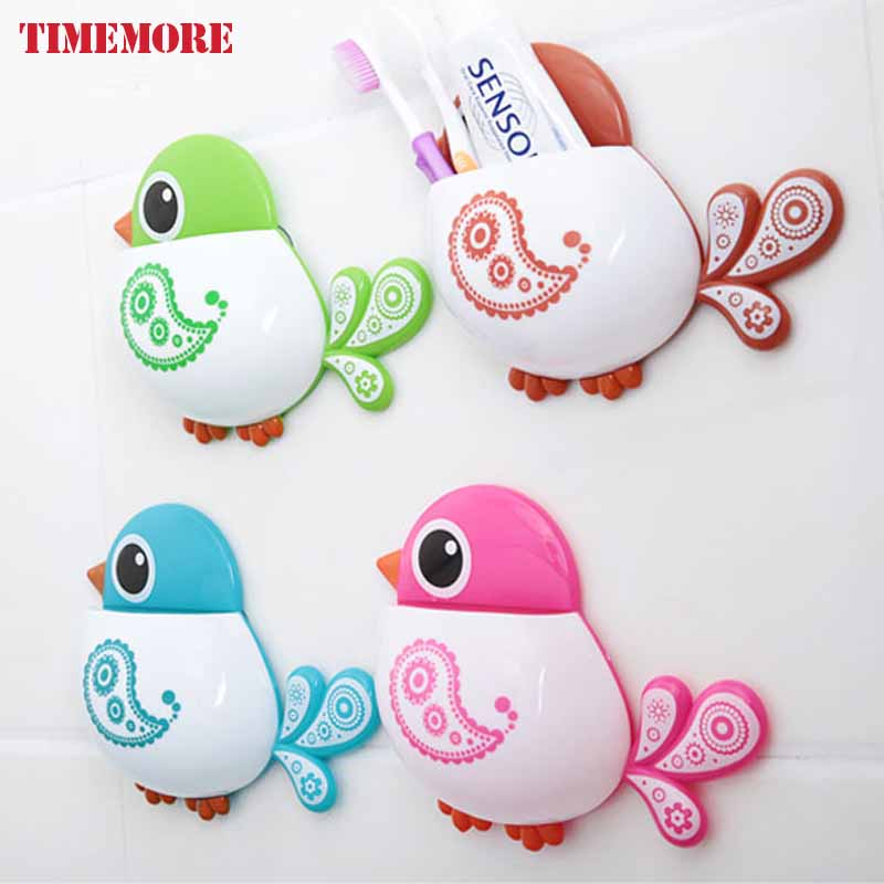 Hot Bird Plastic <font><b>Toothbrush</b></font> <font><b>Holder</b></font> Suction <font><b>Cup</b></font> Rack Wall Mounted Tooth Paste Storage Organizer <font><b>Decorative</b></font> <font><b>Bathroom</b></font> Accessories