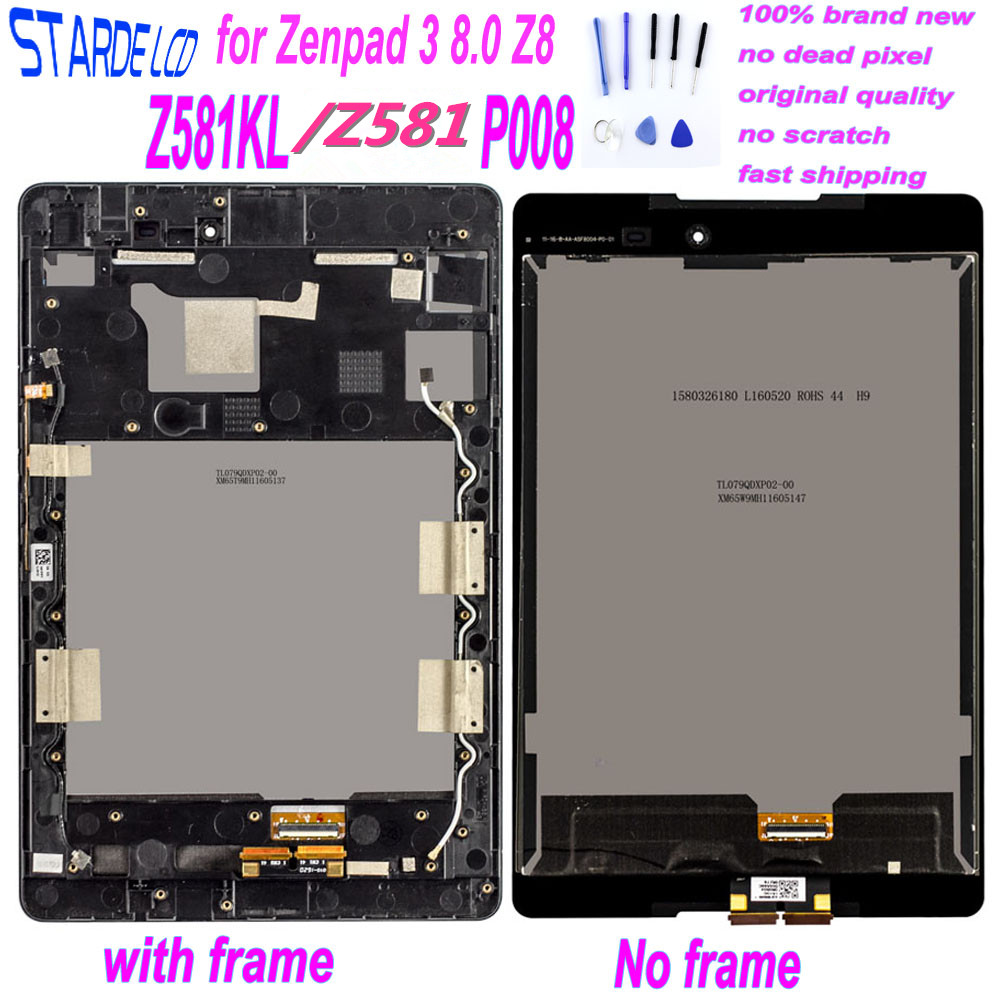 STARDE LCD for Zenpad 3 8.0 Z8 Z581KL Z581 ZT581KL P008 LCD Display Touch Screen Assembly Digitizer with Frame