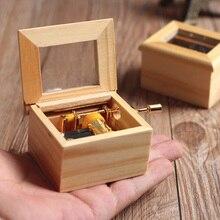 Музыкальная шкатулка деревянная ручная гравировка ручная Музыкальная Коробка с днем рождения классическая рукоятка деревянные украшения для дома