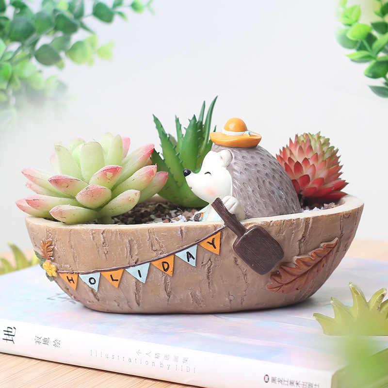 1 Pcs Mini Kartun Landak Succulent Pot Bunga Bonsai Resin Planter Kerajinan Desktop Kantor Dekorasi Taman Rumah Hadiah Ulang Tahun