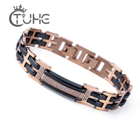 2018 Fashion Jewelry Rose Gold Healthy Ceramic Bracelet Set Cubic Zirconia Stainless Steel Bangle as Valentines Gift for Women