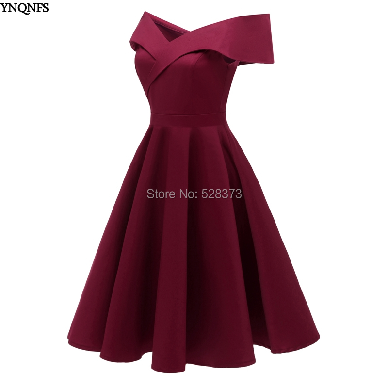 YNQNFS BD84 Real Guest   Dress   Boat Neck Off Shoulder Short   Bridesmaid     Dresses   Burgundy Navy Blue 2019