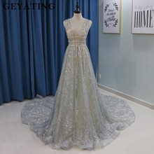 Buy silver wedding dresses and get free shipping on aliexpress bling bling silver sequined wedding dress 2018 sparkling deep v neck backless chapel train bride junglespirit Image collections