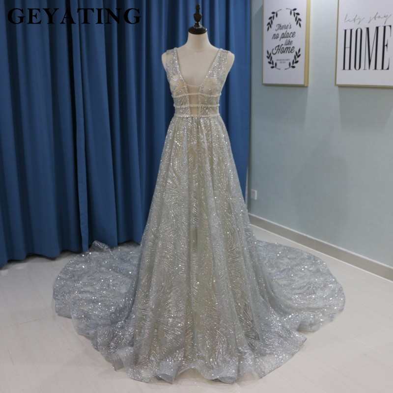 Silver Sequined Wedding Dress 2019 Sparkling Deep V-neck Backless Chapel Train Bride Dresses Wedding Gowns Casamento