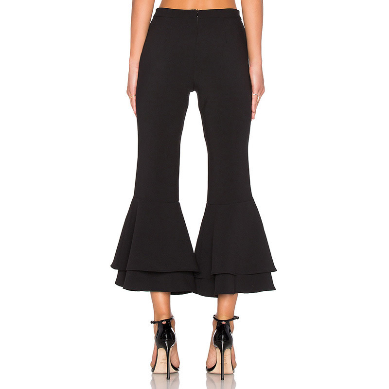 Korea Style Flared Black Wide Leg Pants Work Wear Trousers Capri ...