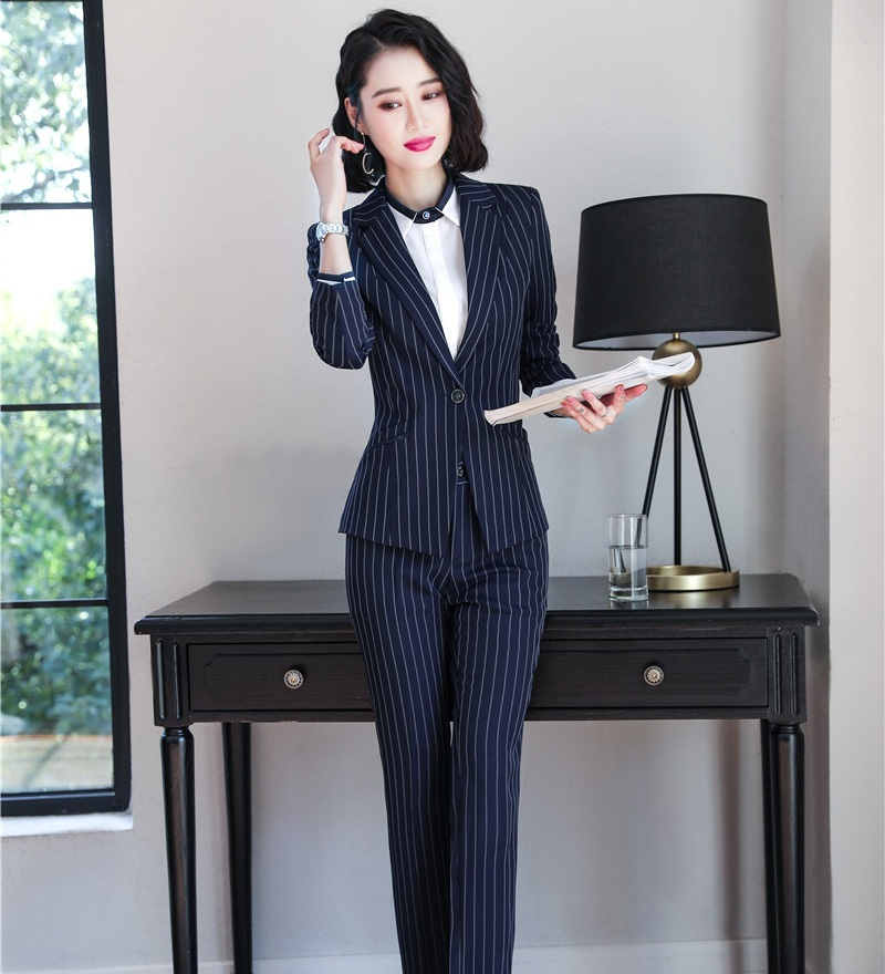 New 2019 Fashion Ladies Navy Blue Stripes Blazer Women Pant Suits Work Wear Ladies Business Suits Office Uniform Styles