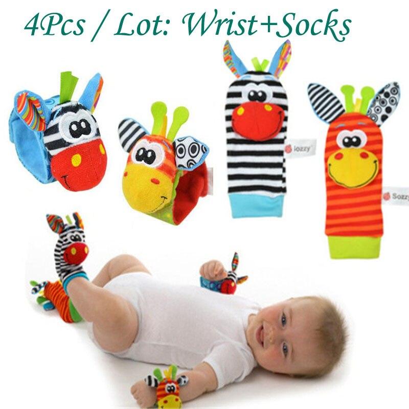цена sale Sozzy Character Wrist Foot Socks Baby Rattles Toy set Animal Socks Wrist Strap Bug Wrist Strap Socks christmas gift