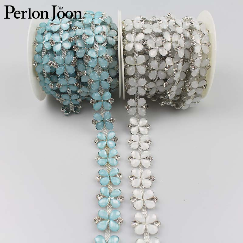 4 Teal Blue Rhinestones Metal Beads with Flower and Leaves Motif Connectors.