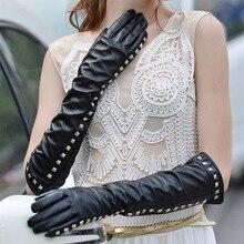 Punk Rivet Black Sheepskin Gloves Female 50cm Long Genuine Leather Five Fingers Touchscreen Women Gloves 2019 NEW CK11 ck11