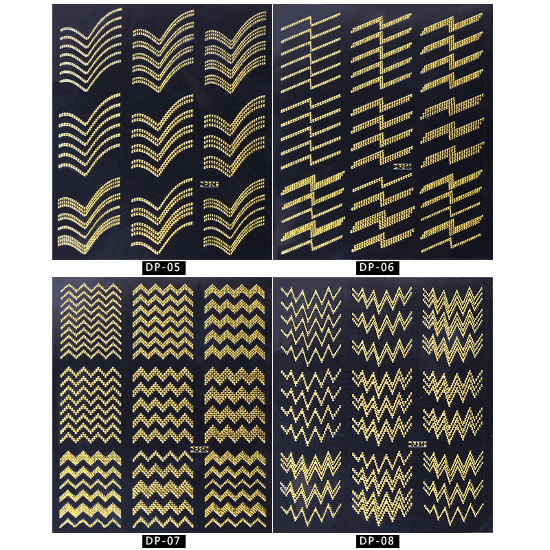 Gold Rivert Metal Adhesive Nail Stickers Decals Zig Zag 3D Retro Studs Styling Nail Art Decorations in Stickers Decals from Beauty Health