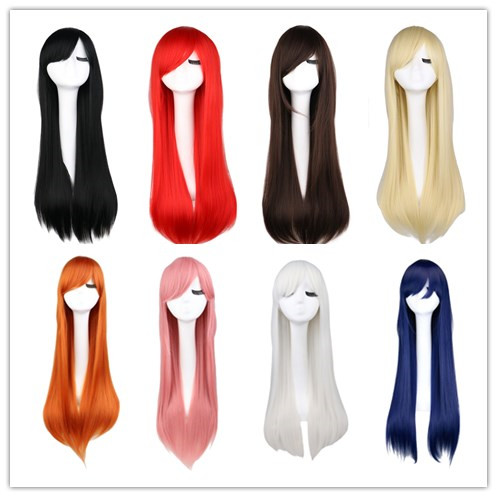 QQXCAIW Long Straight Cosplay Wig Black Purple Pink Blue Sliver Gray Blonde White Orange Brown 80 Cm Synthetic Hair Wigs