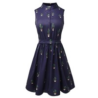 Summer Women Cactus Prints Vintage Party Dresses High Waist A Line Sleeveless Retro Mini Dress For