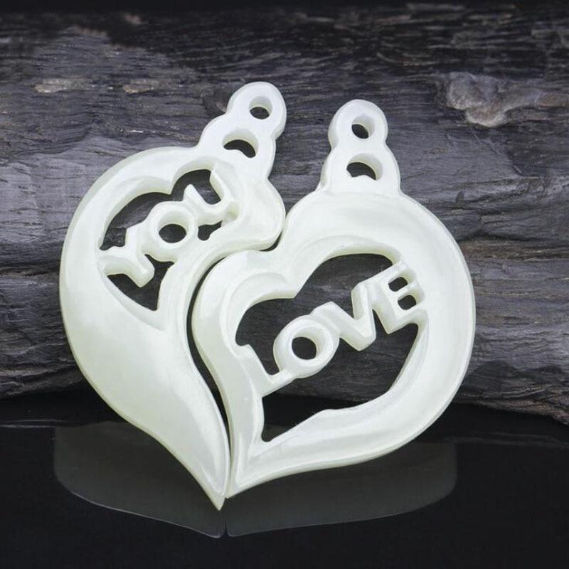 Yu Xin Yuan beaux bijoux naturel Hetian Jade amour creux sculpture Couples Jade pendentif aimant bénédiction collier