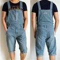 2015 Verão Nova Moda Plus Size S M L XL XXXL 5XL macacão Jeans para Homens calças de Brim Dos Homens Soltos Macacão Shorts Jeans homens