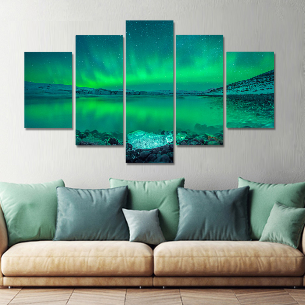 Unframed Canvas Prints Painting Green Aurora Borealis Lake Hill Night Prints Wall Pictures For Living Room Wall Art Decoration