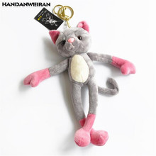 HANDANWEIRAN 1PCS Yoga Mini Cat Plush Toy Cute Cartoon Cats Children Stuffed Toys Keychain Company Activities Small Gift 20CM
