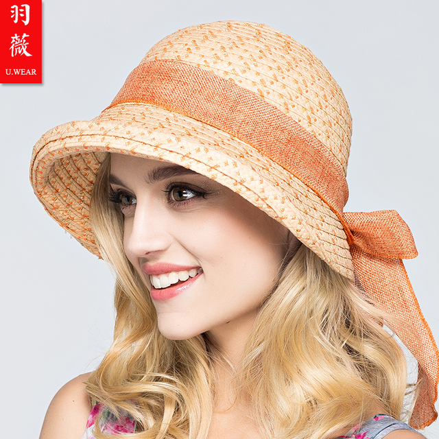 2016 Nuevo Sombrero para el Sol Sombrero de Paja Lafite Señora de Moda Al Aire Libre Casquillo de la playa del Traje de Arco de La Cinta Elegante Bohemia de la Paja Floppy Cap B-3711