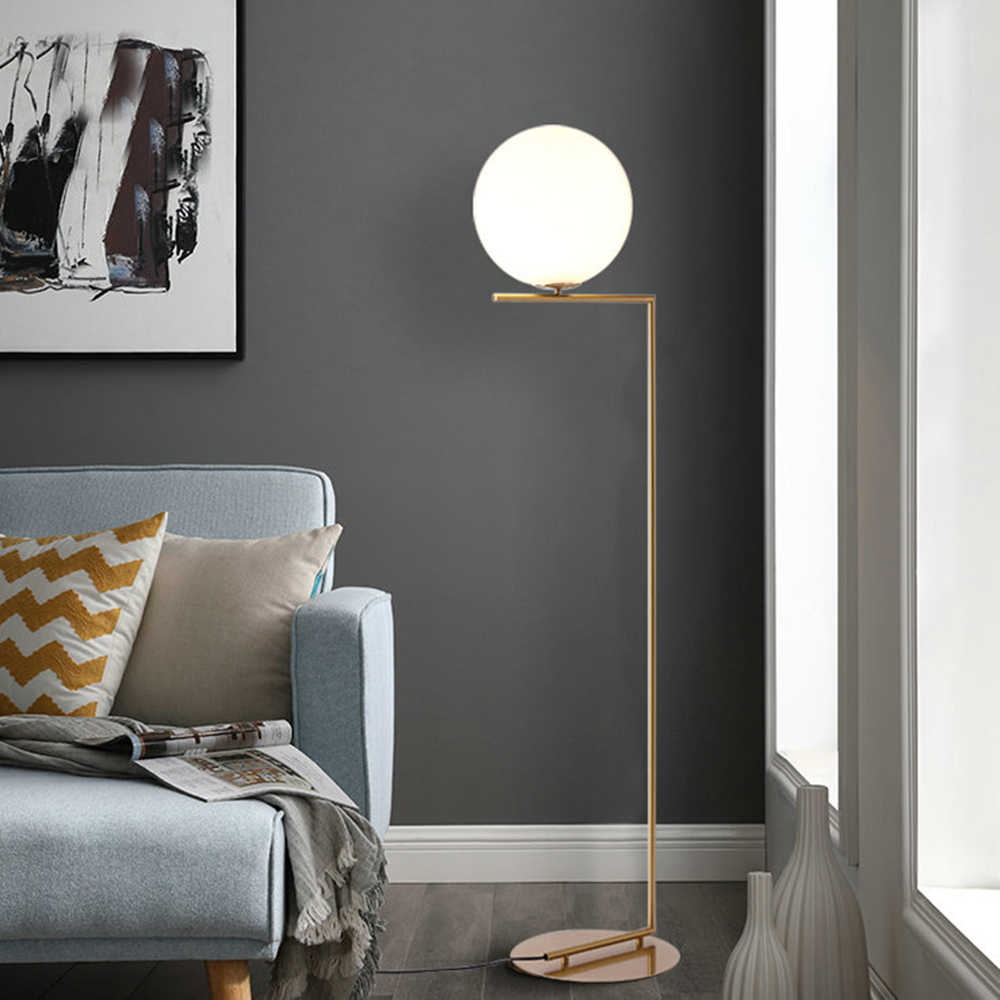 220v 110v Nordic Design Post Modern Gold White Meatl LED Tall Floor Lamp Stand Light With Table for Living Room Deauty Salon
