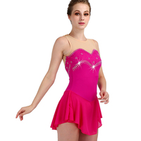 customizable color size sleeveless ice skating dress woman kids adult rose Red crystal custom figure skating dress woman girl