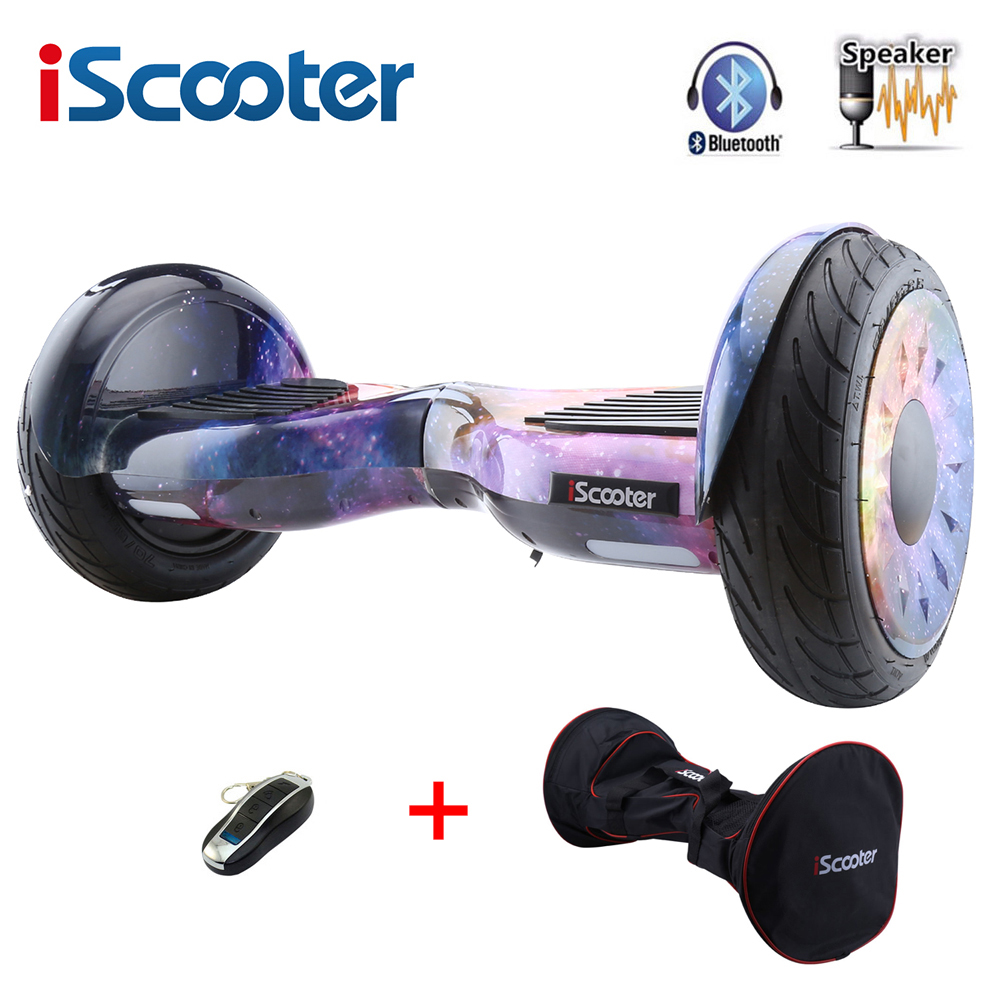 цена iScooter 10 inch hoverboard with Bluetooth speakers two wheels smart self balancing scooter electric skateboard giroskuter New