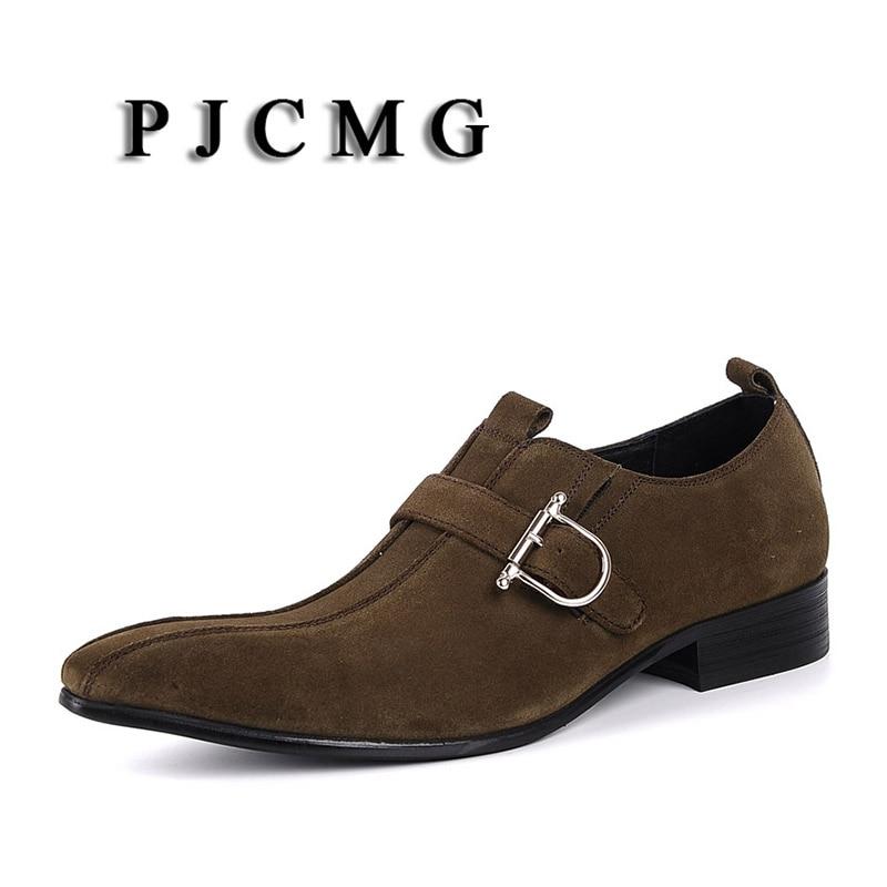 PJCMG/Модная Мужская обувь; замшевая обувь из натуральной кожи с пряжкой на ремешке с острым носком; цвет черный, Brwon; мужская повседневная Свадебная деловая обувь - 4