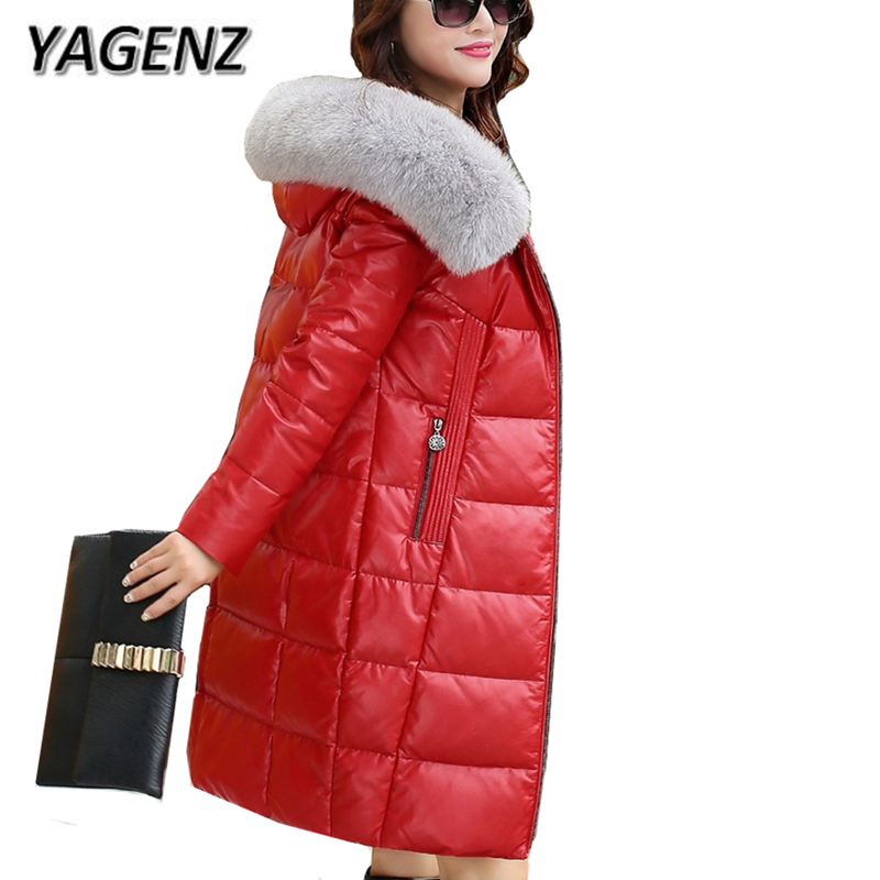 High-end Winter Women Jacket Warm Hooded Coats 2018 New Thick Fox fur collar Slim Long coats Casual Cotton Leather Jackets 5XL грунтоочиститель sera precision gravel cleaner для аквариумов