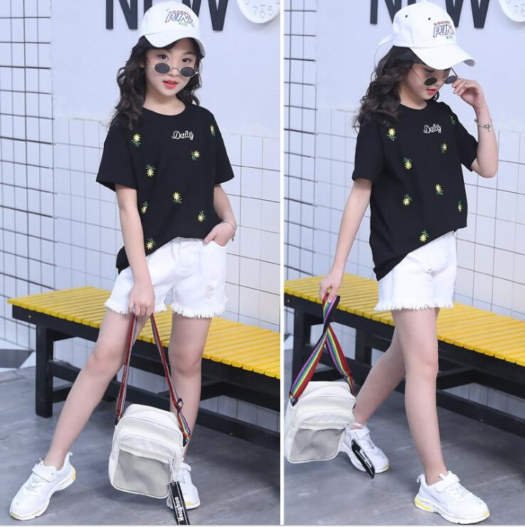 New Girls Summer Cotton tops Cotton T shirt + Jeans shorts two piece set kids outfits Costumes ensemble fille 6 8 10 12 14 Years 1