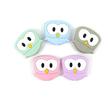 Cute DIY Crafts Teether Silicone Animals Teething Mini Owl Silicone Beads Shower Gift Cute Raccoon Baby Nursing Accessories(China)