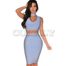 Cuerly 2019 sexy Women summer dress Elegant Bodycon Deep V neck Two-pieces Set Bandage Dresses Celebrity runway Party Dress