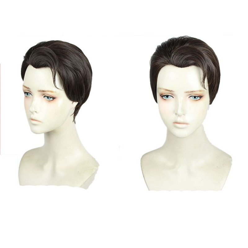 Takerlama Detroit: Become Human RK800 Connor Cosplay Wig Role Play Hair Slicked-back Synthetic Short Hair Halloween Cosplay Prop