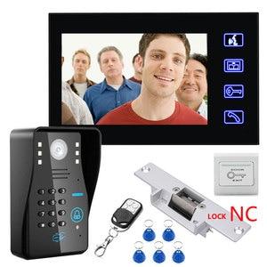 "Image 3 - Touch Key 7"" Video Door Phone Video Intercom System 1 Monitors + RFID Password Access Night vision Doorbell Camera+Electric Lock"