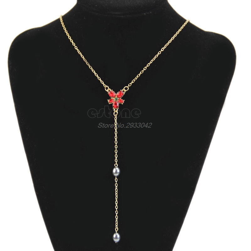 Hot Vogue Hermione Red Crystal Beads Necklace Pendant Sweater Chain-W128