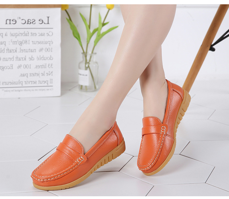 AH 2020-2019 Spring Autumn Women Loafers Genuine Leather Woman's Flats-10