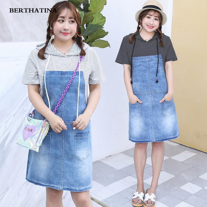 BERTHATINA Summer New Fashion Sweet Women Fake Two piece Dress with Cap Vibrant Youth Striped Dress