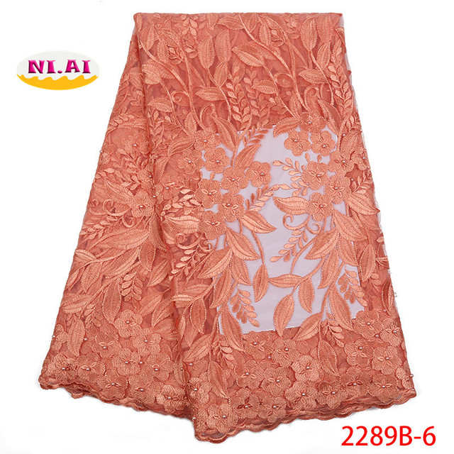 Latest peach Nigerian lace fabrics with beads for wedding dress high quality 2018 African French net lace fabric NA2289B-1