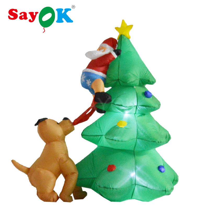 6 Foot inflatable Christmas tree with Santa Claus Climbing on Chased by Dog Funny for Yard Christmas decorations