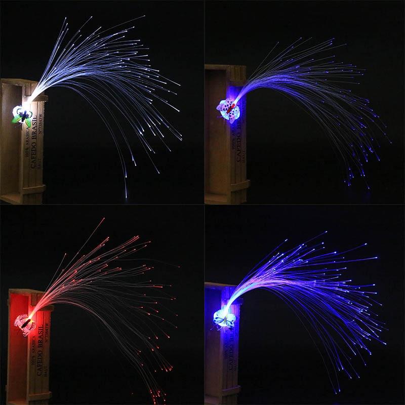 LED Fiber Optic Butterfly Headband Hairpin Clip Light-Up Hair Braids Barrette Flashing High Quality