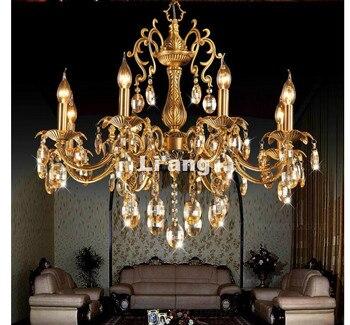 Kronleuchter Aus Bronze Und Kristall | Freies Verschiffen D680mm H630mm Bronze Fertig K9 Kristallleuchter-beleuchtung Luxuriöse Messing Kristall Lampe Lustre Suspension Licht
